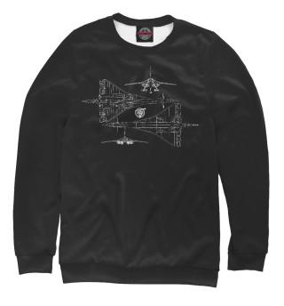 Одежда с принтом Схема самолета ТУ-144 черная