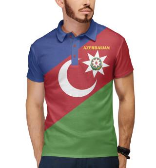 Поло мужское Azerbaijan - герб и флаг