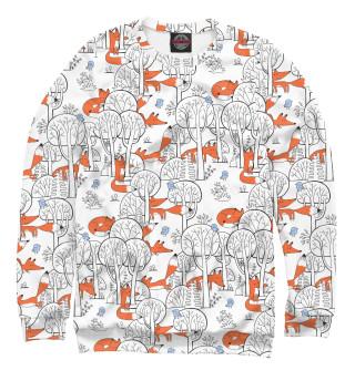 Одежда с принтом Лисички в зимнем лесу