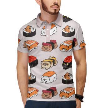 Поло мужское Суши котики