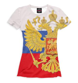 Футболка женская Триколор и герб (5226)