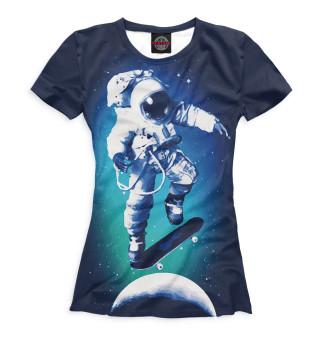 Футболка женская Космонавт-скейтер