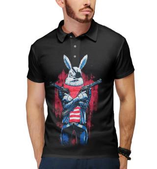Поло мужское Кролик с пистолетом