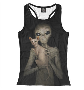 Майка борцовка женская Инопланетянин со сфинксом