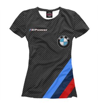 Футболка женская Карбон BMW logo