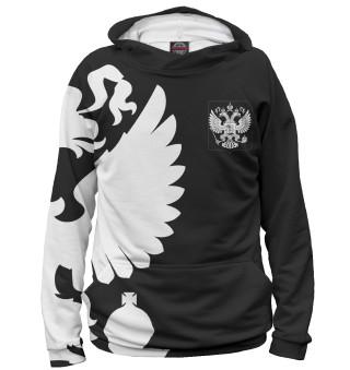 Худи женское Герб России / Белый на Черном