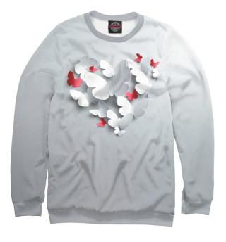 Одежда с принтом 3D сердце из бабочек
