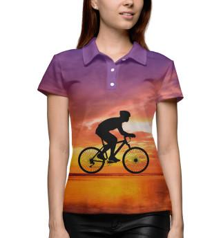 Поло женское Велосипед на закате