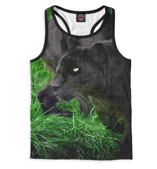 Майка борцовка мужская Пантера на траве