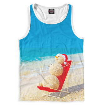 Майка борцовка мужская Снеговик на пляже