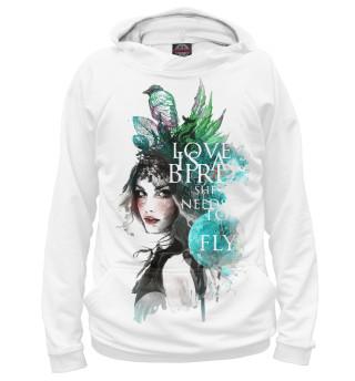 Худи женское Девушка с птицами и листьями
