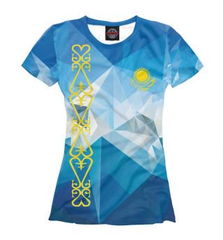 Футболка женская Абстракция флаг Казахстана