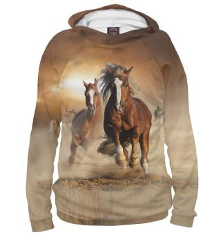 Худи женское Бегущие лошади