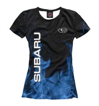 Футболка женская Subaru blue fire
