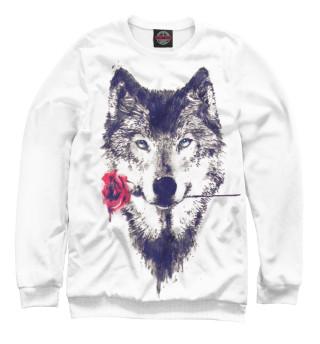 Одежда с принтом Волк с розой