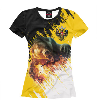 Футболка женская Имперский флаг и медведь