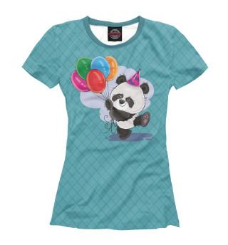 Футболка женская Панда с воздушными шариками