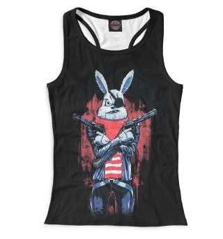 Майка борцовка женская Кролик с пистолетом
