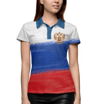 Поло женское Флаг России с гербом