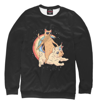 Одежда с принтом Кот и Мопс единорог