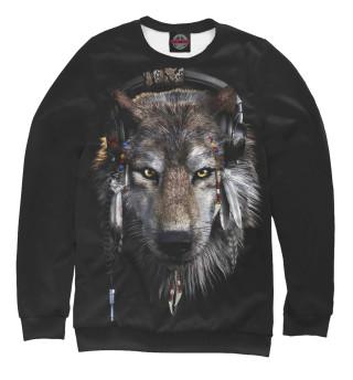 Одежда с принтом Волк в наушниках